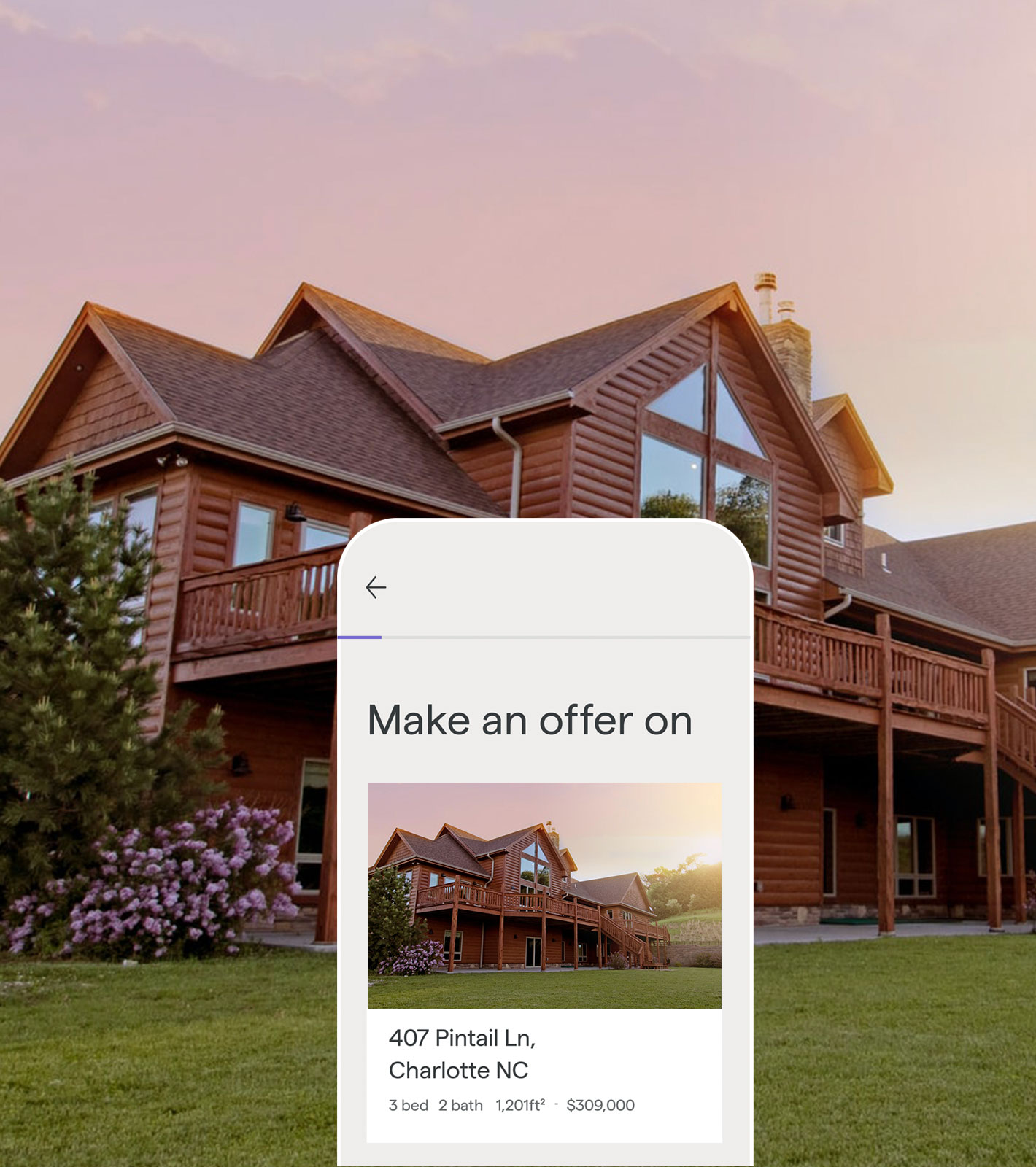 Ribbon real estate app showing how to make an offer on a Log cabin style home, with the home in the background