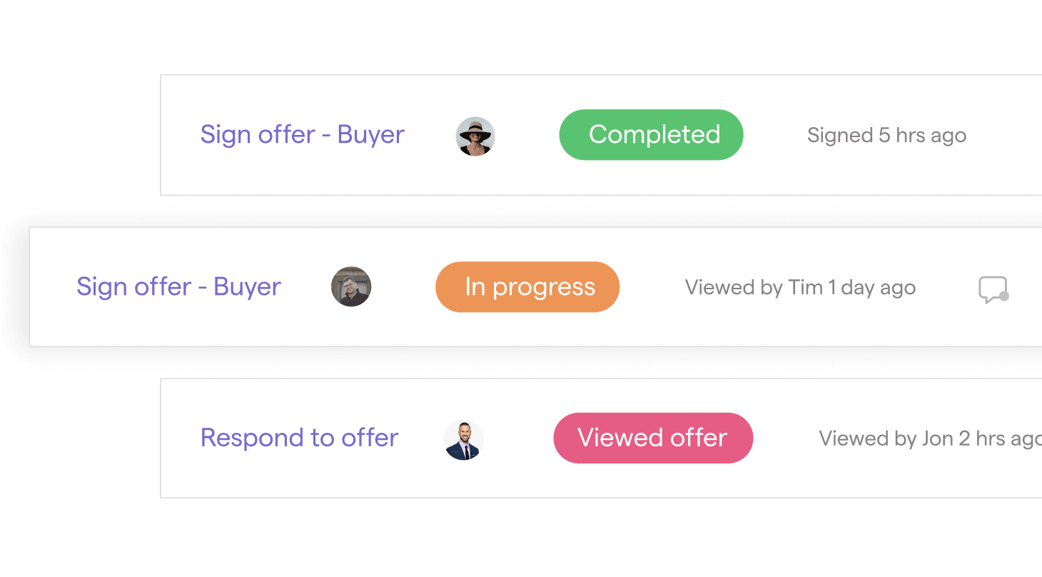 Ribbon real estate app showing the status of different offers